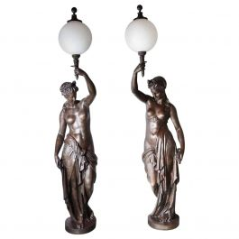 Pair of Life-Size Cast Iron Classical Female Lamp Stands by Val D'Osne