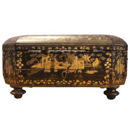 19th Century French Octagonal Chinoiserie Black and Gold Box