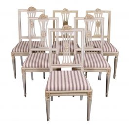 Swedish Gustavian Grey Dining Chairs Lindome Style Set of 6, Mid-20th Century