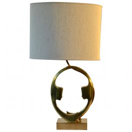 1970s Willi Daro Bronze Table Lamp with Silhouette Faces