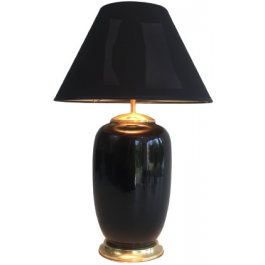 BLACK LACQUERED PORCELAIN AND BRASS TABLE LAMP