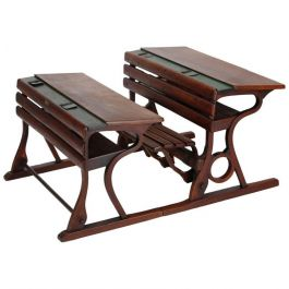 Czech Vintage School Desks from D. G. Fischel & Söhne, Set of Two