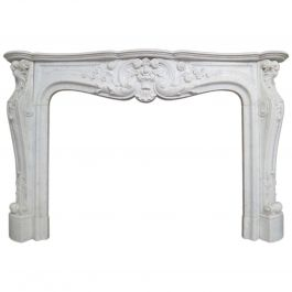 Large French Antique Louis XV Carrara Marble Fireplace Mantel