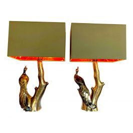 Pair Of Willy Daro Style Brass Peacock Lamps By Regina With New Bespoke Shades