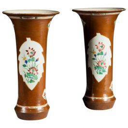Pair of Late 18th Century Brown Painted Batavia Trumpet Vases 'Could Be Lamps'