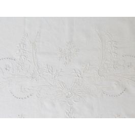 Bolsters - Antique French White on White Fine Embroidery on Linen Bolster by Charlotte Casadéjus