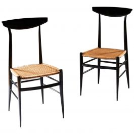 Pair of Italian Ebonised Side Chairs by Sanguinetti