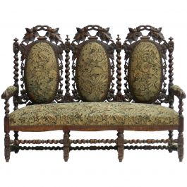 French Sofa 19th Century Louis XIII, Country House Canape Oak Medallion Back