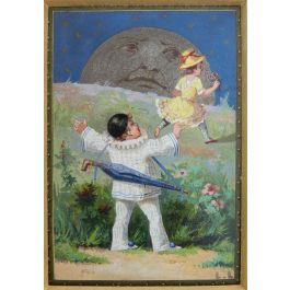 Luigi LoirMiniature Painting Pierrot, Colombine and the Moon by Luigi Loir Belle Epoquec1890-1900