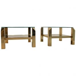 Glamorous Set Belgochrom 23-Carat Gold-Plated Two-Tier Glass Side Tables, Signed