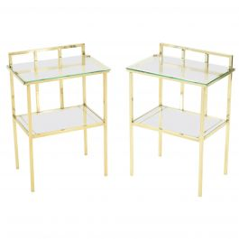 French Brass Two-Tier Glass End Tables Attributed to Marc du Plantier, 1960s