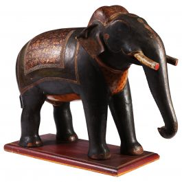 Large Indian Polychrome Carved Wooden Elephant