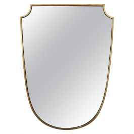 1950s Brass Shield Shaped Mirror, in the Manner of Gio Ponti