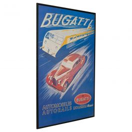 Vintage Bugatti Poster, French, Framed, Advertisement, Lithograph, Art Deco