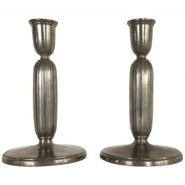 1930s Pair of Art Deco Pewter Candlesticks by Just Andersen