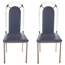 Pair of Lucite and Gunmetal Chairs by Maison Jansen, 1970s