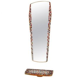 Brass & Mosaic Mirror with Console, 1950s