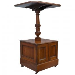 Antique Purdonium, Table and Coal Box, English, Walnut, Early 20th Century