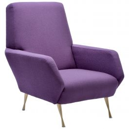 Upcycled Italian Purple Lounge Chair, 1950s