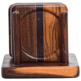Mid Century Modern Set of 4 Coasters by Don S Shoemaker Cocobolo Wood