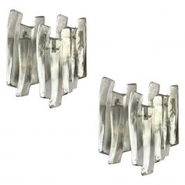 Large Triple Panel Glass Sconces by J T Kalmar, Austria