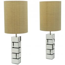 Pair of Midcentury Curtis Jere Chrome Lamps, 1970s