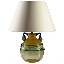 Yellow and Blue Murano Glass Vase as a Table Lamp