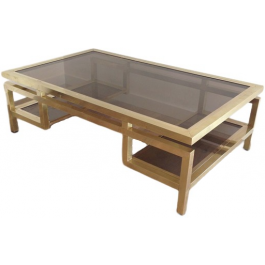 Guy Lefèvre. Rare Important Brass Coffee Table