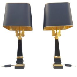 Pair of 24 Carat Gold Plated Bronze Table Lamps