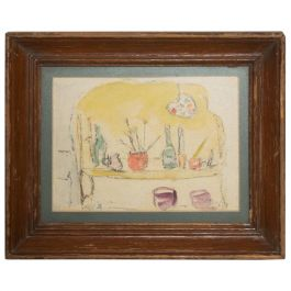 Modern Midcentury Vintage Still Life Drawing Yellow Purple Lithograph
