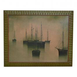 Mid-Century Modern Art by Gilbert Bria, Sail Boats, Oil on Canvas