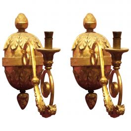 Pair of Italian Baroque Hand-Carved Giltwood Sconces with Ormolu Arm
