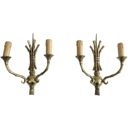 Bagués. Pair Of Faux-Bamboo Bronze Wall Sconces