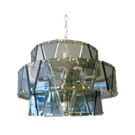 Italian Triangular-Panel Glass and Chrome Chandelier