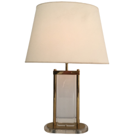 GILT BRASS AND LUCITE TABLE LAMP. FRENCH. CIRCA 19