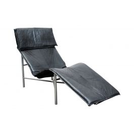 1970s Black Leather Chaise Longue by Tord Bjorklund