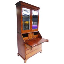 George II Walnut Bureau Bookcase