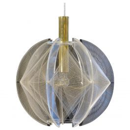 1970s Sculptural Spherical Clear Lucite, Wire and Brass Pendant Lamp