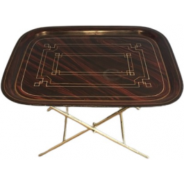 Unusual Tray Table In Brass With A Lacquer Top
