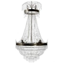 Empire Crystal Chandelier: Large dark brass with crystal octagons
