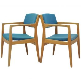 1960s Set of Two Erik Buch Oak Armchairs by Orum Mobler, Choice of Upholstery