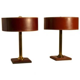Pair of Leather Table Lamps Attributed Adnet
