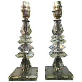 Pair of 1930s French Green Crystal Glass Lamp Bases