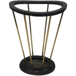 Attr To Jacques Adnet. Wood & Brass Umbrella Stand