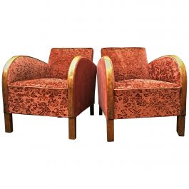 Art Deco Antique Armchairs Pair of Red Golden Birch Bentwood Arms, 1920s-1940s