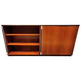 Midcentury Office Cabinet with Tambour Doors, 1960s