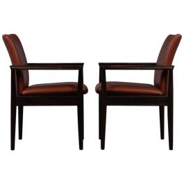 1960s Finn Juhl Model 209 Diplomat Chair in Mahogany and Brown Leather - Cado