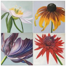 2013 Esther Hansen Collection of Four Flower Paintings