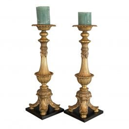 Large, Pair of Vintage Candlesticks, Asian, Gilt Metal, Decorative Torchere