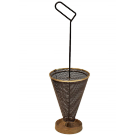 Mid-Century Umbrella Stand of Perforated Metal and Brass